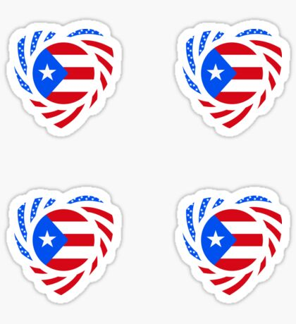 Puerto Rican American Multinational Patriot Flag Series 2.0 Sticker