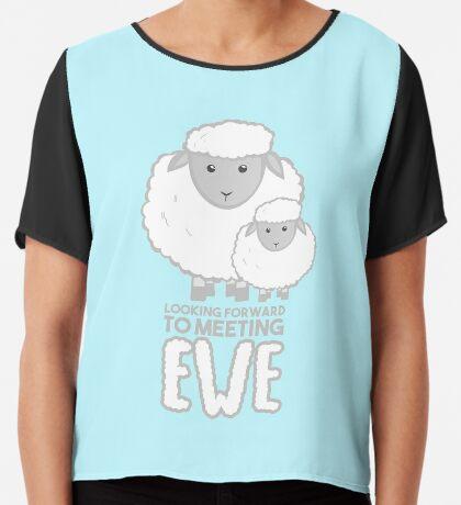 Fathers Day- Sheep - Looking forward to meeting you - Baby Sheep Shirt Chiffon Top