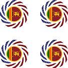 Sri Lankan American Multinational Patriot Flag Series by Carbon-Fibre Media