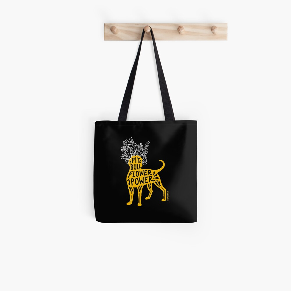 Pit Bull Flower Power (yellow, white crown) Tote Bag