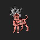 Pit Bull Flower Power (coral, white crown) by SophieGamand