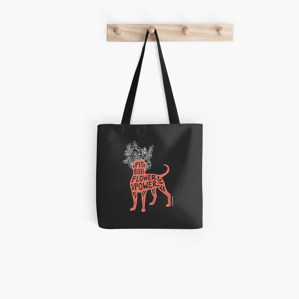 Pit Bull Flower Power (coral, white crown) Tote Bag