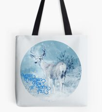 Merry Christmas From the North Pole, deer t-shirt Tote Bag
