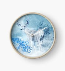 Merry Christmas From the North Pole, deer t-shirt Clock
