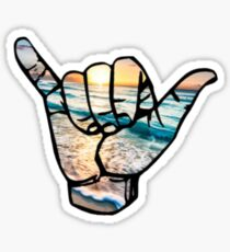 Shaka Strand Hintergrund Glänzender Sticker