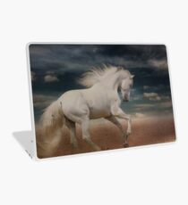 """White Horse Running on Beach Shirt, """"Running Free"""" Laptop Skin"""