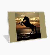 """Horse Shirt, Neighs in the Sunset, """"Always remember your strengths"""" Laptop Skin"""
