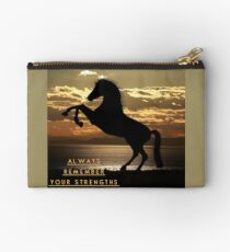 """Horse Shirt, Neighs in the Sunset, """"Always remember your strengths"""" Zipper Pouch"""