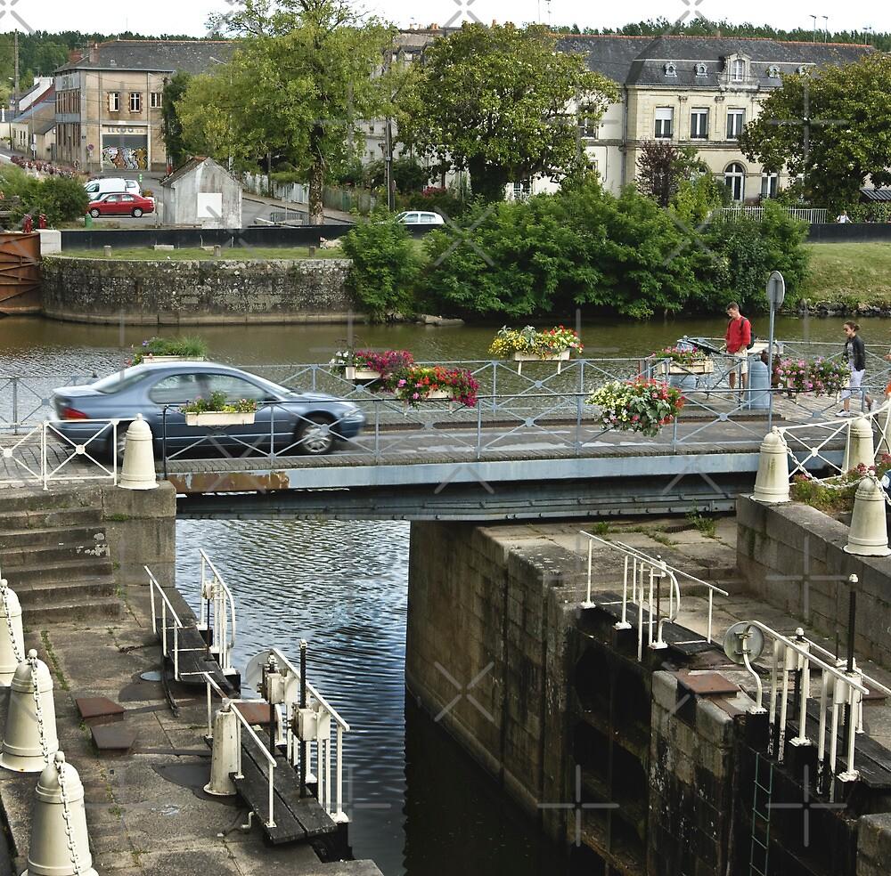 Pivoting Bridge over the Villaine River, Redon, Brittany, France by Buckwhite