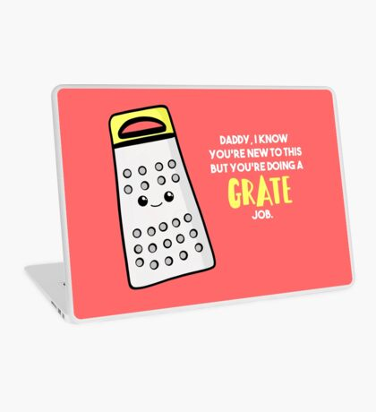 Funny First Father's Day  Shirt - New Dad - Birthday - Grate Job - Puns Laptop Skin