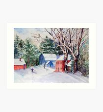 Snowshoeing in Strawberry Banke Art Print