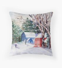 Snowshoeing in Strawberry Banke Throw Pillow