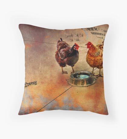 fowl language around the dog's bowl Throw Pillow