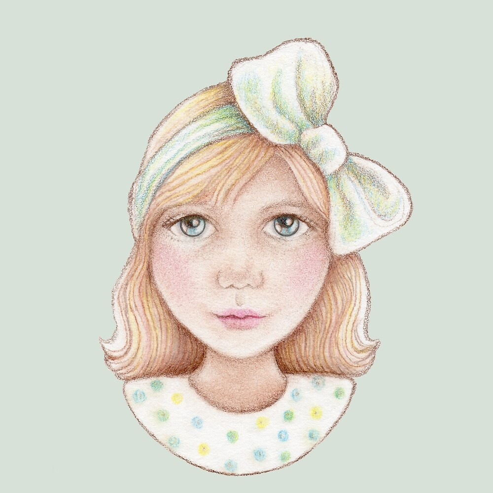 cute little girl with bow in hair by trudette