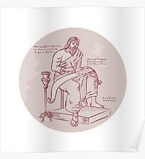Evangelist Writing Scroll Etching Poster
