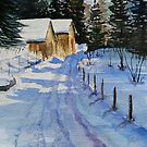 Snowy winter scene watercolor by DanielaFurini