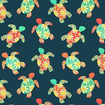 Nette Blumen-Kinderhippie-Schildkröten auf Dunkelheit von micklyn