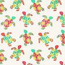 Cute Flower Child Hippy Turtles on Cream by micklyn