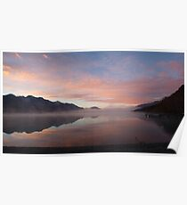 Lake Wakatipu (NZ) at dawn, looking south from Kinloch Poster