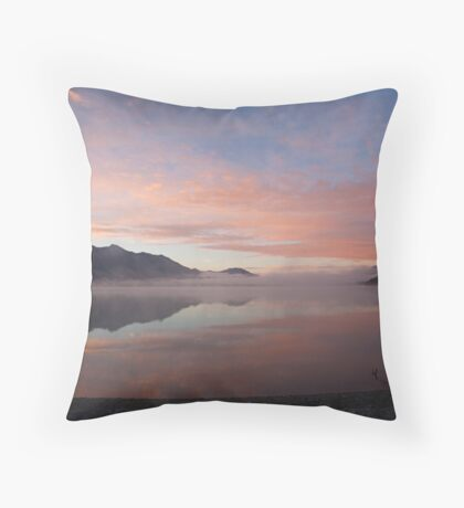 Lake Wakatipu (NZ) at dawn, looking south from Kinloch Throw Pillow