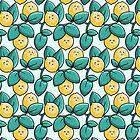Kawaii Cute Lemon and Leaves by Fiona Reeves