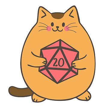 Lindo gato con dados poliédricos D20 de pixeptional
