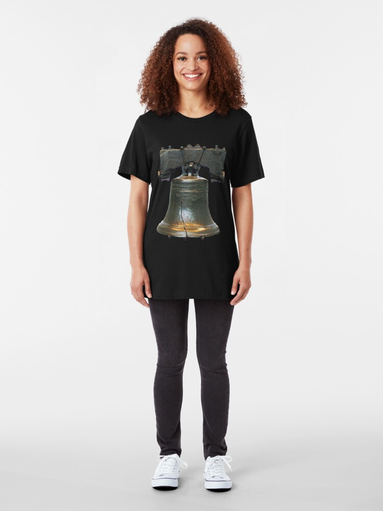 Alternate view of LIBERTY BELL, on black Slim Fit T-Shirt