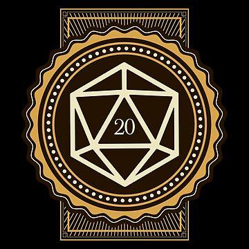 Emblema retro de los dados D20 de pixeptional