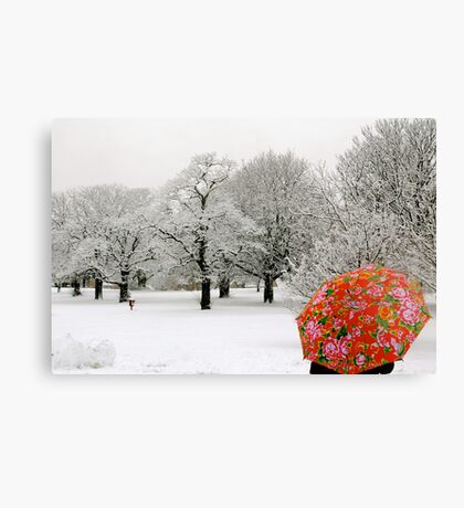 The lady with the red umbrella Canvas Print