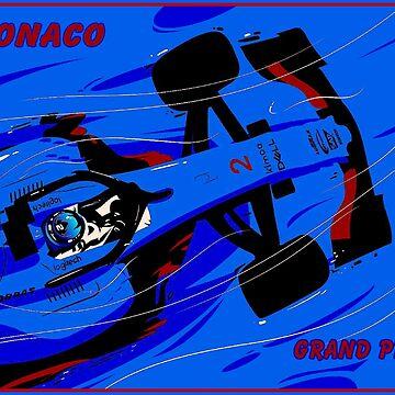 MONACO; Weinlese-Grand-Prix-Autorennen-Druck von posterbobs