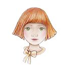 little girl with red hair and bow by trudette