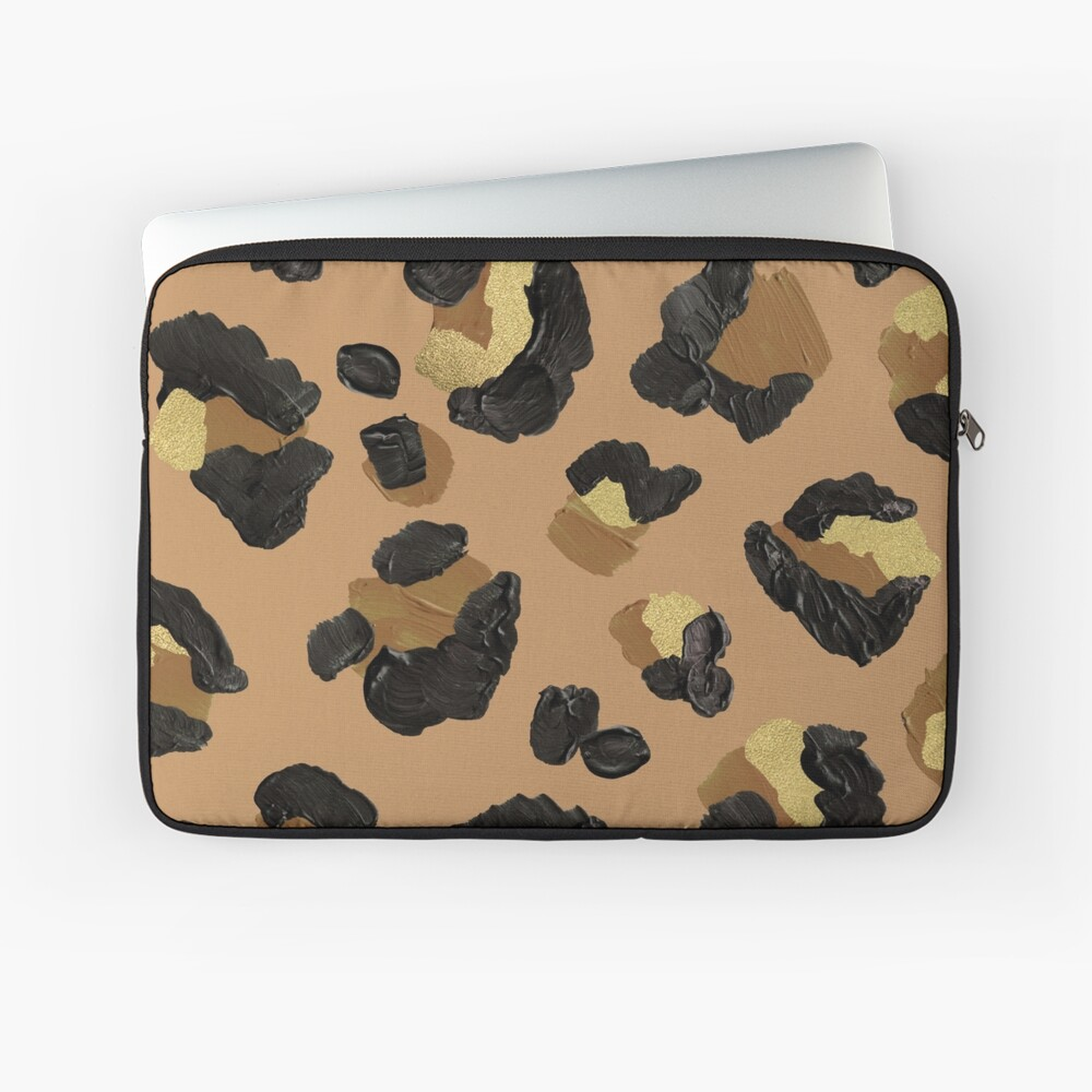 Leopard Print – Neutral & Gold Palette Laptop Sleeve