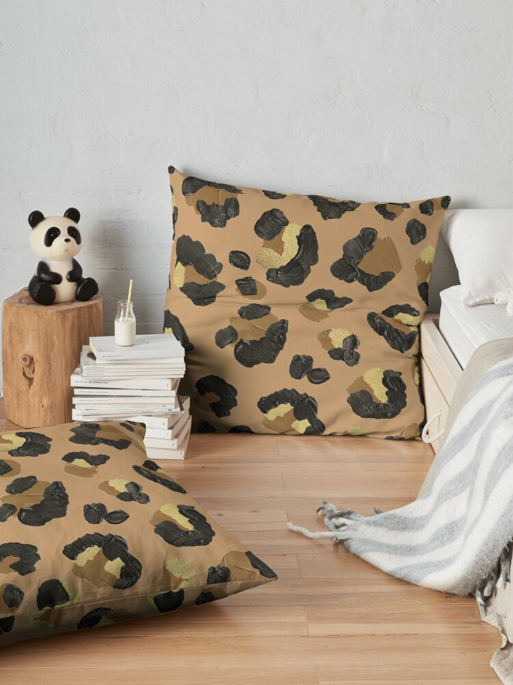Alternate view of Leopard Print – Neutral & Gold Palette Floor Pillow