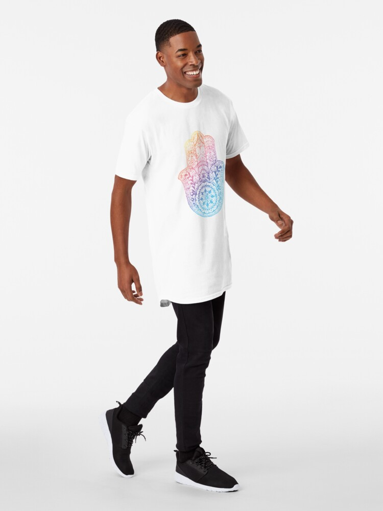 Alternative Ansicht von Regenbogen Hamsa Longshirt