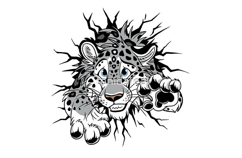 """STUCK Snow Leopard (black paw pads)"" Laptop Skins by ..."