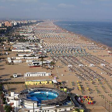 Rimini beach  in summer panorama Italy by goceris