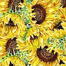 Sunflowers Watercolor Sunny Pattern by Irina Sztukowski