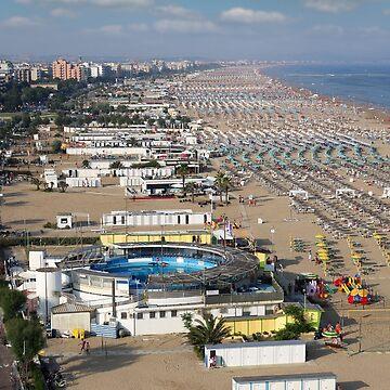 Rimini beach Italy in summer season by goceris