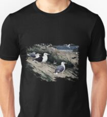 Painting of herring gulls and a Great Black-backed Gull Unisex T-Shirt