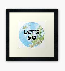 Let's Go! Rounded Europe Map Framed Print