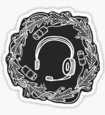 Headset & XLR Floral Wreath - White on Black Sticker