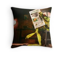 Frog News Throw Pillow