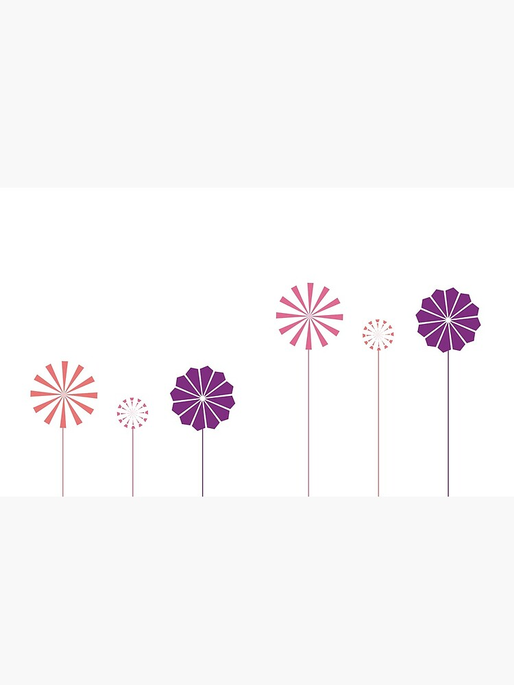 Pink and Purple Pinwheels on White by artkecco