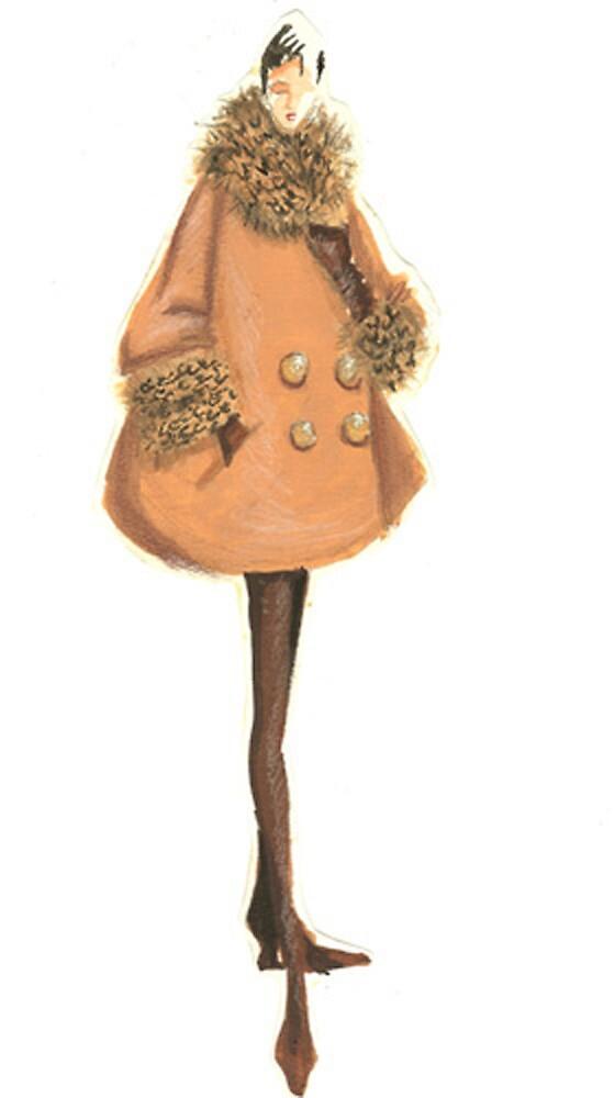 Quot Fashion Sketch Of Woman In Fur Coat Quot By Kathlin Argiro