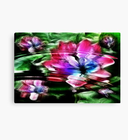 Rippled Water Lily and Bubbles Canvas Print