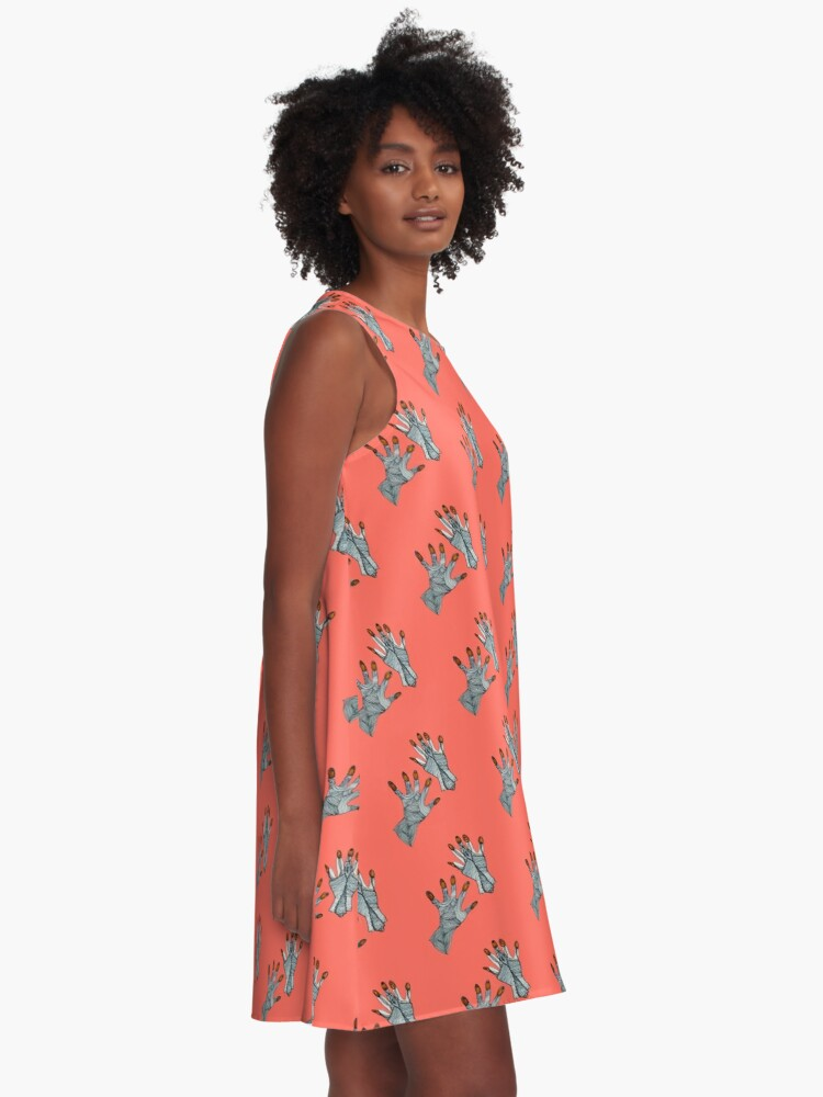Alternate view of hands on living coral A-Line Dress