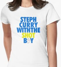Steph Curry With The Shot Boy [With 3 Sign] Blue/Gold Women's Fitted T-Shirt
