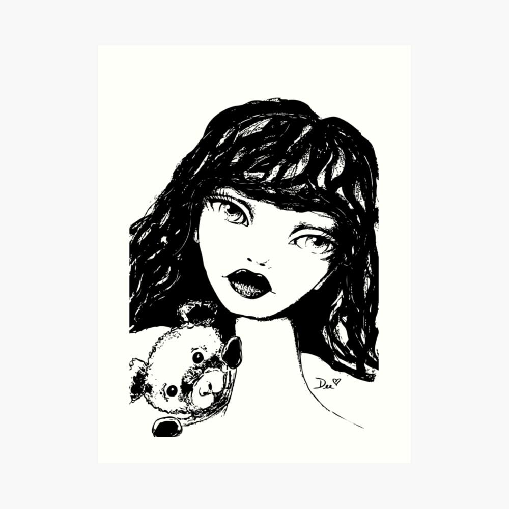 Beary Sweet - Black & White Version Art Print
