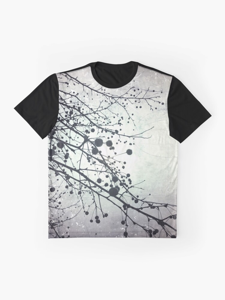 Alternate view of Silver Sky Photo Art  - Bare Tree in Winter Artwork - Neutral Colors - Black and White Nature Art Graphic T-Shirt