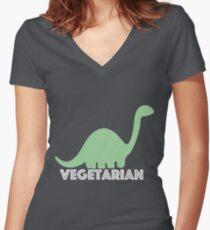 Vegetarian Dinosaur Logo Women's Fitted V-Neck T-Shirt